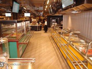 Линия раздачи Simeco, вытяжные зонты, прилавок для первых и вторых блюд